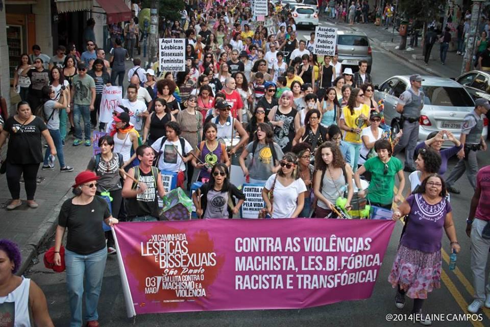 XII Caminhada de Lésbicas e Bissexuais de São Paulo (2014). Foto: Elaine Campos.
