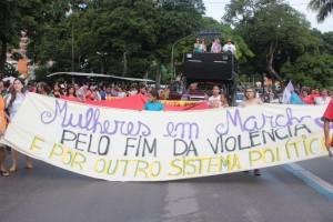 Manifestação da 4ª ação internacional da Marcha Mundial das Mulheres em João Pessoa, na Paraíba.